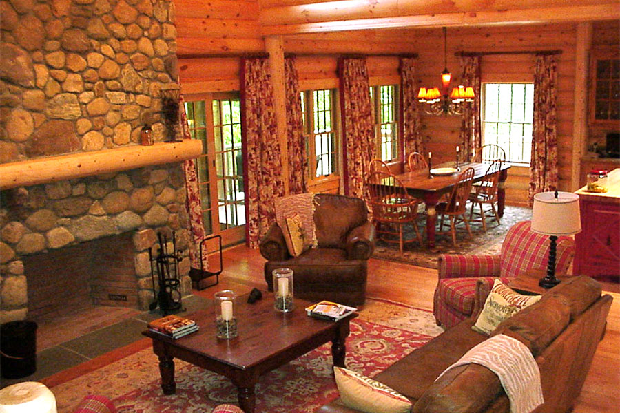 Stone fireplace in a custom log home